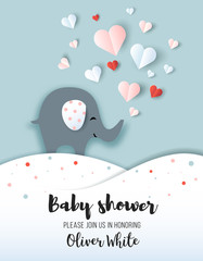 Baby shower greeting card, nursery poster with little elephant and hearts, vector paper art