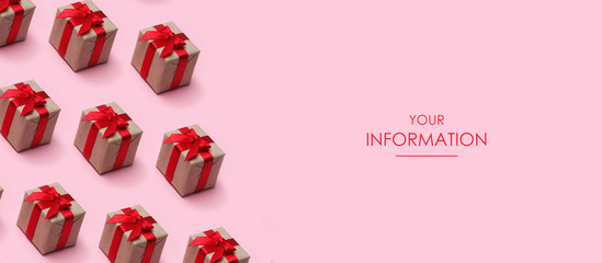 Gift boxes wrapped in craft paper and tie satin ribbons. Presents pattern. Pink background. Web article template. Long header banner format. Sale coupon. Visit card. Your information. Text space.  Wall mural