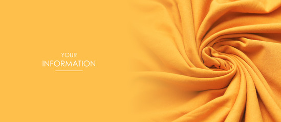 Foto op Canvas Stof Texture of the fabric swirling in a whirlpool. Orange cloth background. Web article template. Long header banner format. Sale coupon. Visit card. Your information. Text space.