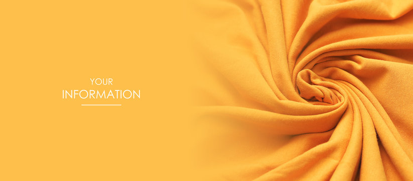 Texture of the fabric swirling in a whirlpool. Orange cloth background. Web article template. Long header banner format. Sale coupon. Visit card. Your information. Text space.