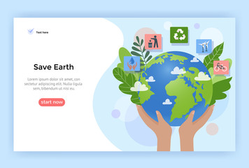 Save Earth concept illustration, Environment poster, vector flat design