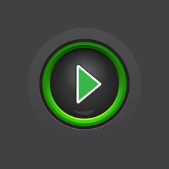 glossy dark circle play button