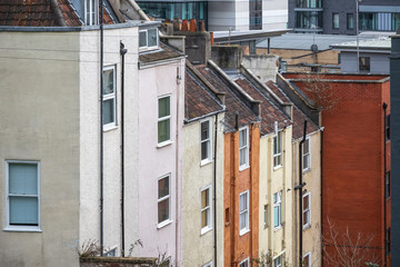 English terraced houses around Brandon Hill in Bristol, England