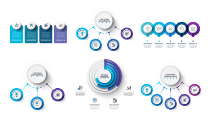 Creative concept for infographic. Business data visualization. Abstract elements diagram with 3, 4 and 5 steps, options, parts or processes. Vector business template for presentation.