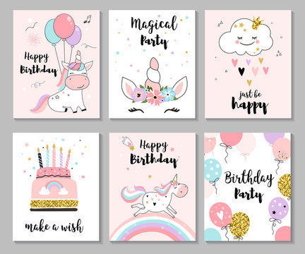 Happy birthday greeting card and nursery posters with cute unicorns. Vector illustration, hand drawn style.