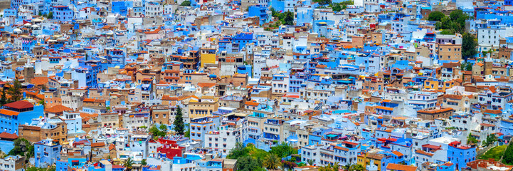 Spoed Fotobehang Marokko Panorama of the blue city of Chefchaouen in Morocco