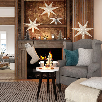 New year tree in scandinavian style interior with christmas decoration