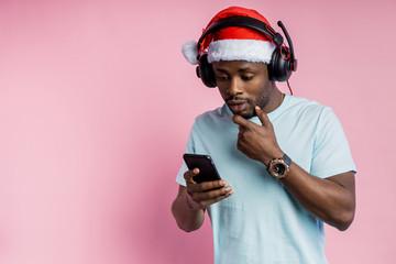 Handsome african man in headphones