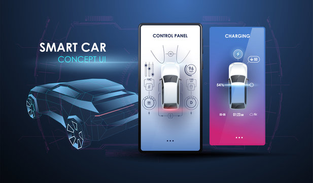 Abstract virtual graphic touch user interface. Car Auto Service, Modern Design, Diagnostic Auto. User interface for smartphone. Creative modern template for App.