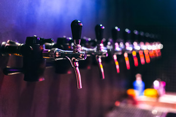 Beer taps in the pub
