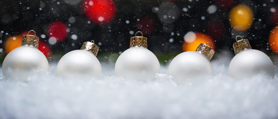 Banner with Christmas toys and snow background
