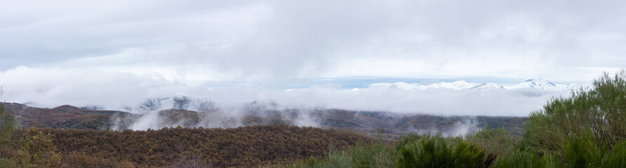 panoramic snowy mountain range and cloud cover