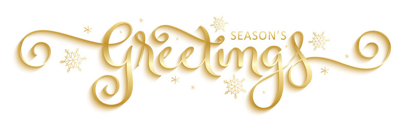 SEASON'S GREETINGS metallic gold vector brush calligraphy with flourishes Fototapete