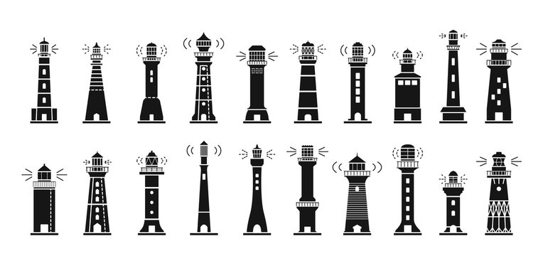 Sea lighthouse black vector set icon.Vector illustration ocean beacon on white background .Isolated black icon light of sea lighthouse.