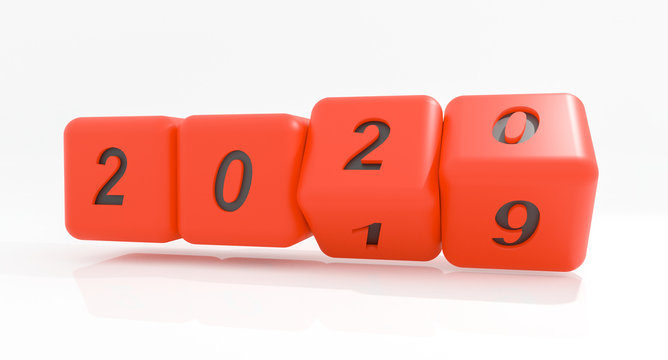 2020 New year change, turn. 2020 start 2019 end, red dice isolated against white background. 3d illustration