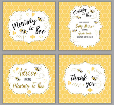 Baby shower invitation template Mommy to Bee, honey. Mothers Day cards set Yellow oneycomb background