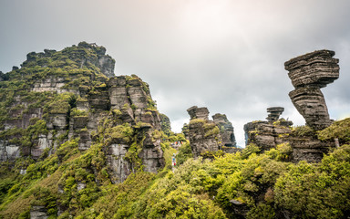 Fanjingshan old golden summit scenery and mushroom shaped stone with autumn colours Fanjing mountain Guizhou China