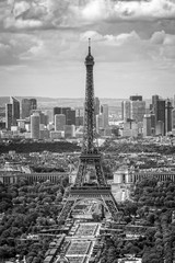 Spoed Fotobehang Bleke violet Aerial scenic view of Paris with the Eiffel tower and la Defense business district skyline, black and white