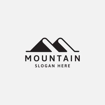 book mountain logo design template - vector