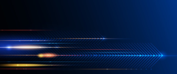 Wall Mural - Illustration of light ray, stripe line with blue light, speed motion background. Vector design abstract, science, futuristic, energy, modern digital technology concept for wallpaper, banner background
