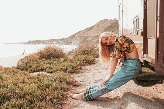 retro campervan with hippie californiagirl. california van lifestyle