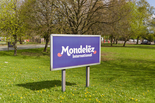 Mondelez International sign outside the cocoa bean processing factory in Chirk UK