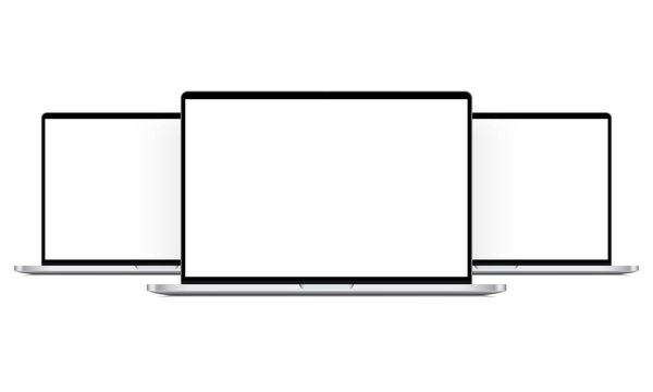 Modern laptop computers mockups isolated on white background. Vector illustration