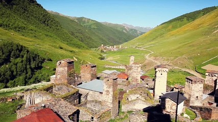 Fototapete - Ushguli village in morning light.