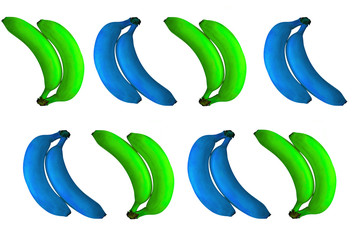 pop art blue and green  bananas isolated,  cheerful background