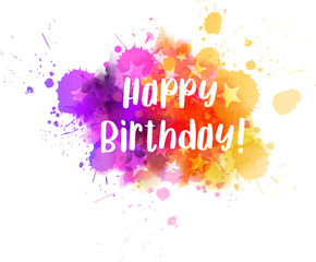 Happy birthday lettering on colorful paint splash