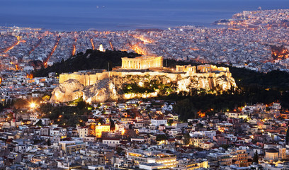 Greece - Athens skyline at night with acropolis