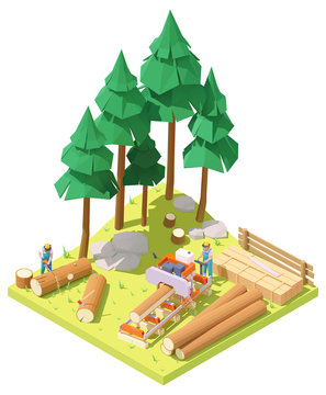 Vector isometric portable sawmill in forest. Man or woodcutter cutting large tree trunk to planks with sawmill. Lumberjack cutting tree with chainsaw