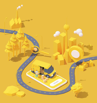 Vector parcel and mail delivery service and tracking app illustration, Smartphone with yellow delivery truck, delivery courier holding cardboard box, road from factory to home. Supply chain