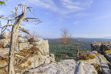 Szczeliniec Wielki in Table Mountains National Park, Lower Silesia, Poland. Panorama visible from one of the viewing terraces