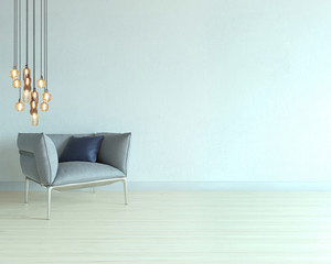 empty room and gray armchair interior design. 3D illustration