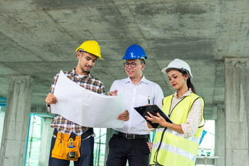 professional engineer planning with team young architect with friendly at site construction work