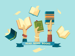 Hands with books. Education smart concept students reading and holding books in library vector background in flat style. Illustration book encyclopedia, education and knowledge