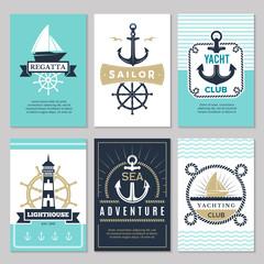 Nautical cards. Marine vintage logotypes sea rope knot anchor ship ocean decorative symbols for labels background. Marine nautical card, anchor and ship illustration