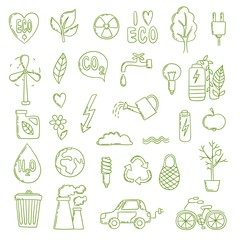 Ecologic doodle. Green energy concept pictures collection clean environment save air bio co2 plant growth vector. Eco recycle, save green energy illustration