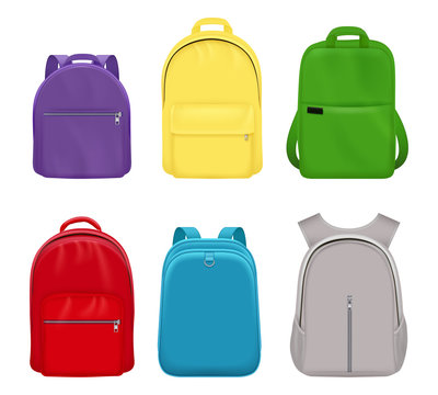 School backpack. College realistic students handy items luggage travel vector collection front side. Backpack school, bag pack and luggage, rucksack and knapsack illustration