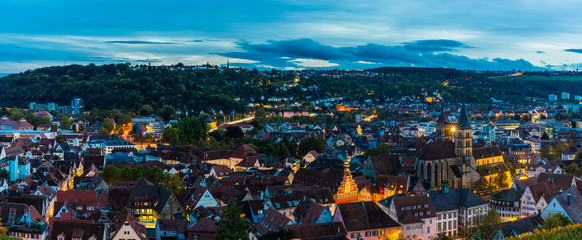 Germany, XXL aerial panorama view above houses, st dionysius church and skyline of medieval city esslingen am neckar at sunset
