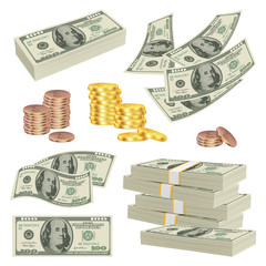 Money realistic. Investment cash dollars banknotes paper gold finance product vector money pictures. Dollar cash and banknote, success money illustration