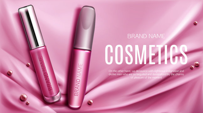 Lip gloss and mascara tubes mockup banner top view, liquid lipstick with silver cap make up cosmetics beauty product on pink silk draped fabric background. Luxury promo poster realistic 3d vector