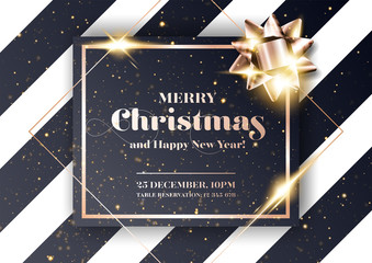 Merry Christmas Vector Background. Minimalist Xmas 2020 Party Invitation, Card, Poster, Cover Template in Dark Black and Rose Gold Colors. Strict, Luxury, Chic, Elegant Style.