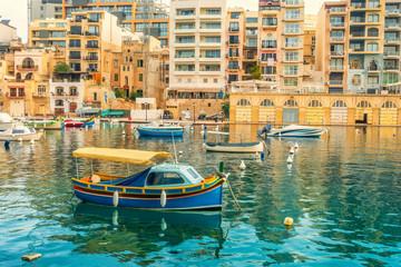 beautiful sea view of harbor at St. Julians to Sliema, Spinola Bay, Malta
