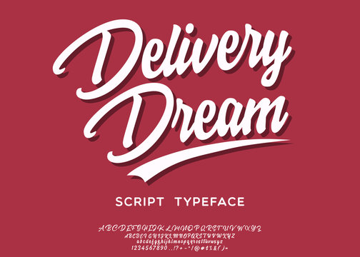 Delivery dream. Lettering print on sticker or clothes. Script font. Vector illustration.