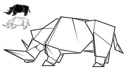 Image of paper rhinoceros origami (contour drawing).