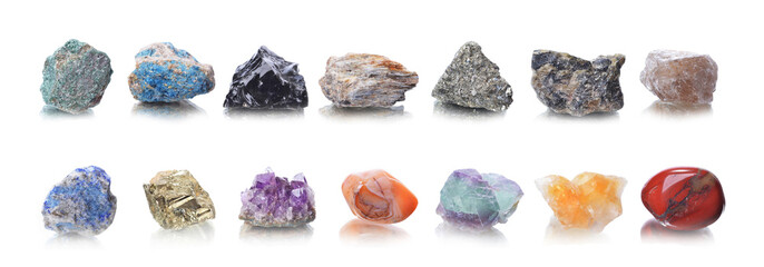 macro shooting of natural mineral rock specimen - groups stone on an isolated white background,reflection Wall mural
