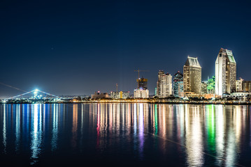 Downtown San Diego seen from Coronado island at night