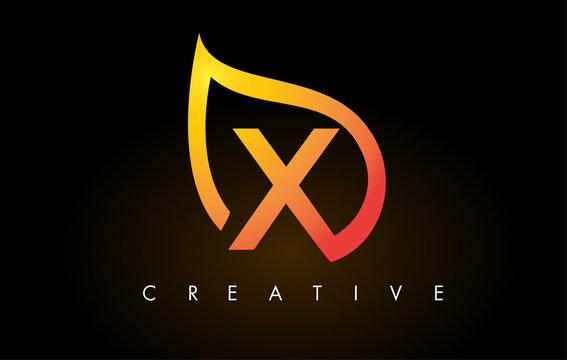 X Leaf Logo Letter Design with Golden Leaf Outline
